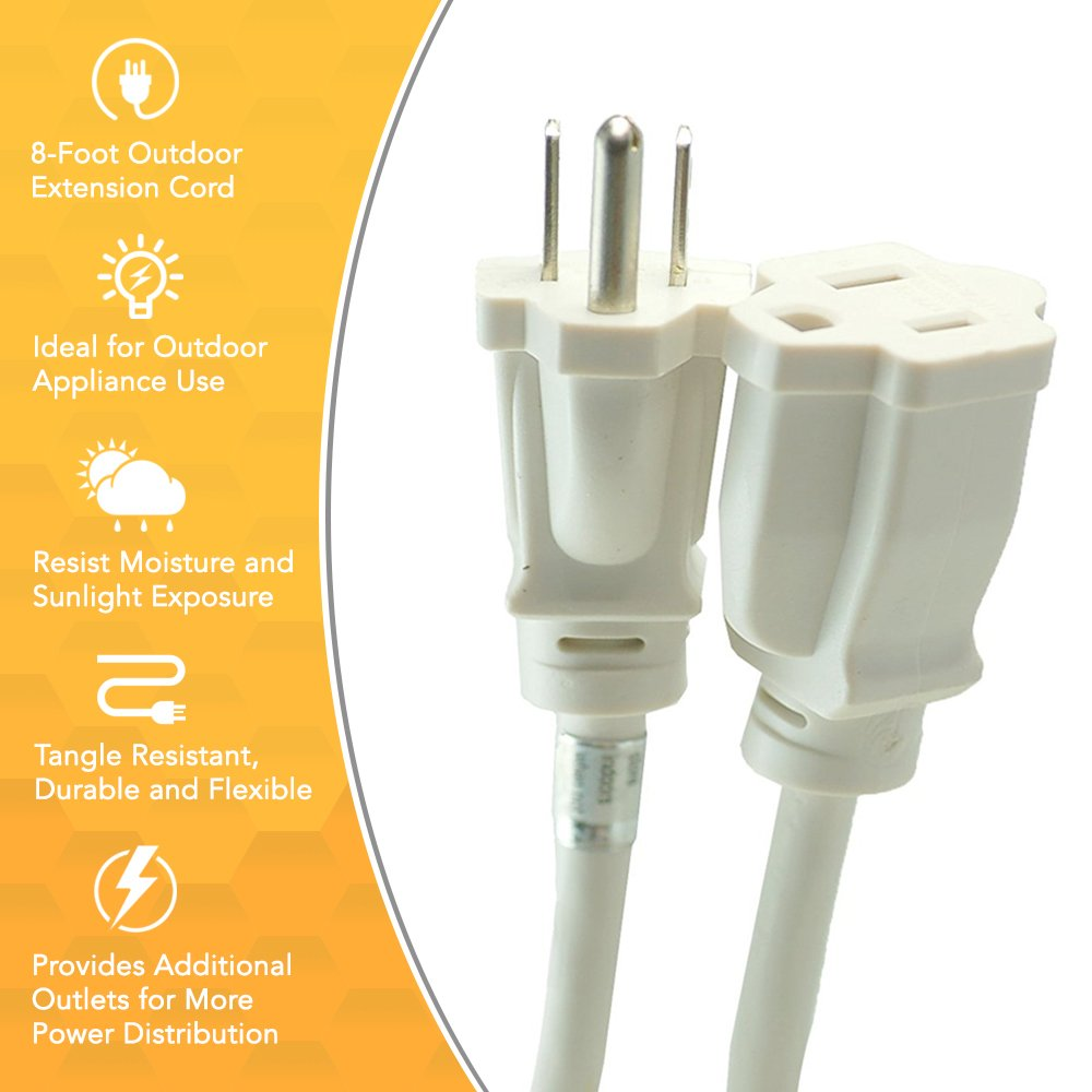 Woods 277563 Outdoor Extension Cord With Power Block 8 Foot White Wiring Plug