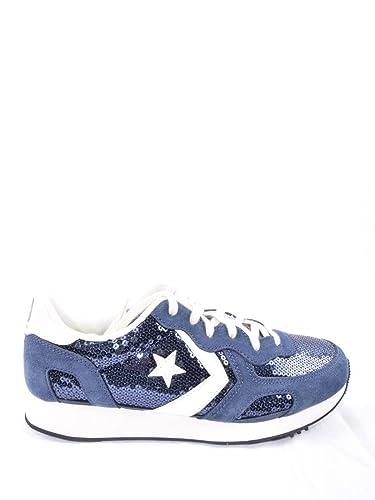 CONVERSE Auckland Racer Ox sneakers donna paillettes PELLE NAVY BLU ... 08d91822b