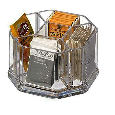 Acrílico soporte para bolsas de té, café y azúcar cajas de almacenamiento de bolsa caso habitaciones, acrílico, transparente, L16*W16*H8cm- 5 ...