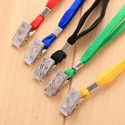 200Pcs Blue Blank Flat Nylon Neck Lanyards / Straps / Strings with Bulldog Badge Clip Attachment for Office ID Name Tags and Badge Holders by MagicW (Image #2)