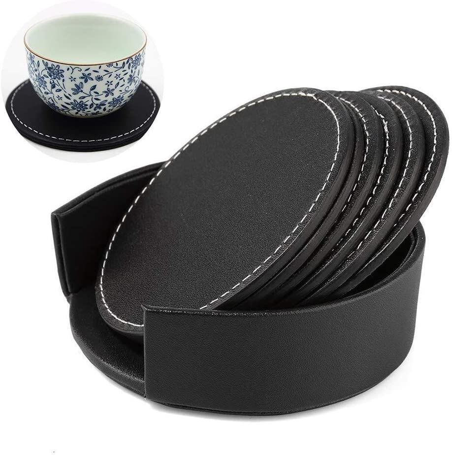 Leather Heat Insulation Cup Drink Coasters Cup Pad Mat Tableware w// Holder
