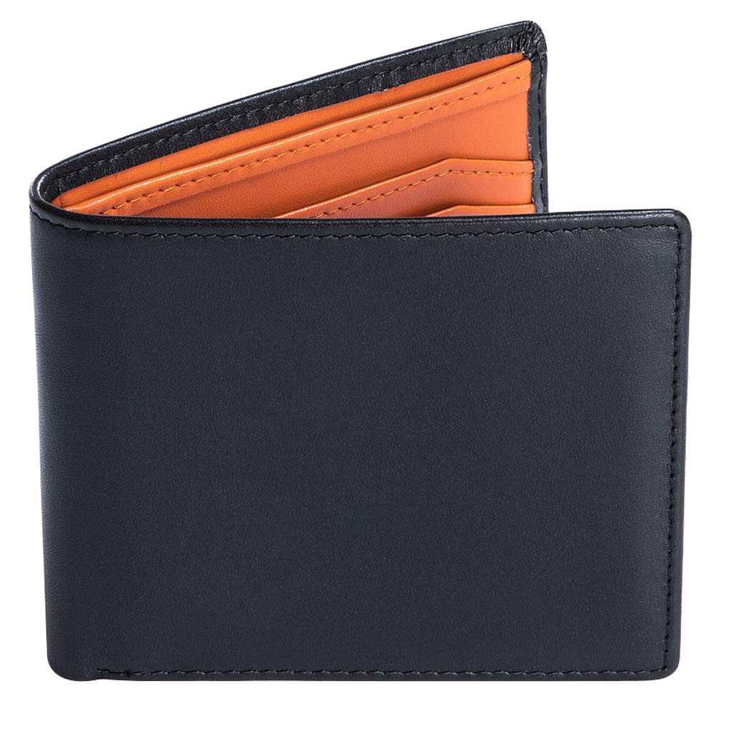 RFID Blocking Wallet for Men,Slim Luxury Genuine Leather Mens Wallet Black/Orange,Holds up to 8-12 Cards and Cash,Credit Card Protector