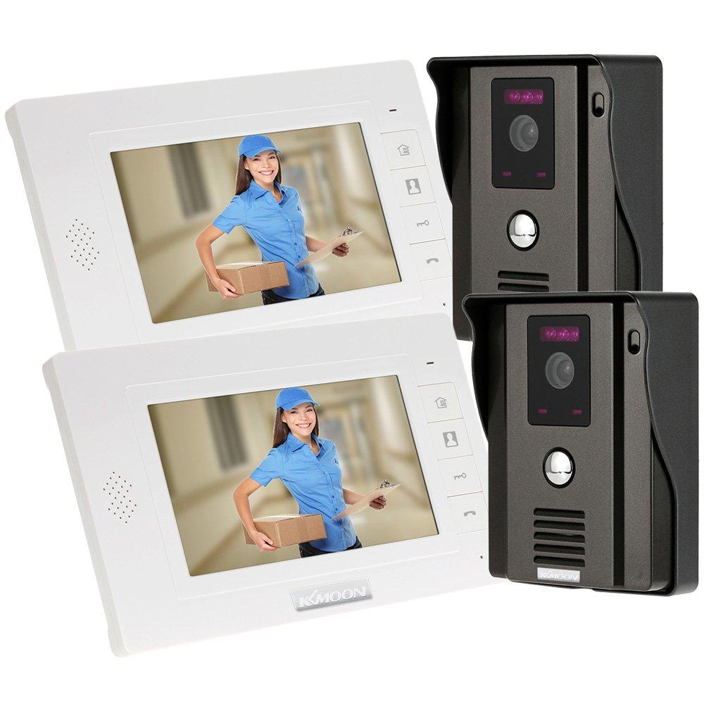 KKmoon Videogegensprechanlage 7 Zoll Tü r Telefon Intercome Tü rglocke Fernbedienung entriegeln Night Vision Regendichtes Security CCTV-Kamera-Startseite Ü berwachung TP01H-12