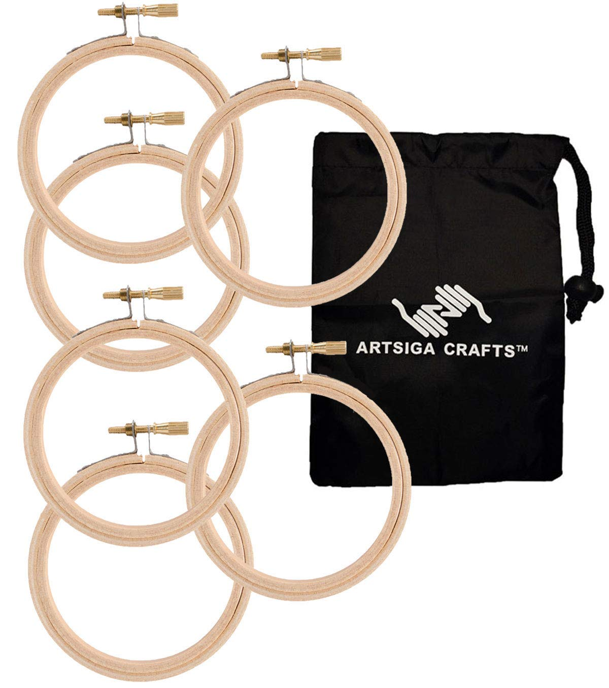Bundle with 1 Artsiga Crafts Small Bag 6 Pack Darice DIY Crafts Supplies Embroidery Hoops 6 inch Wooden Round