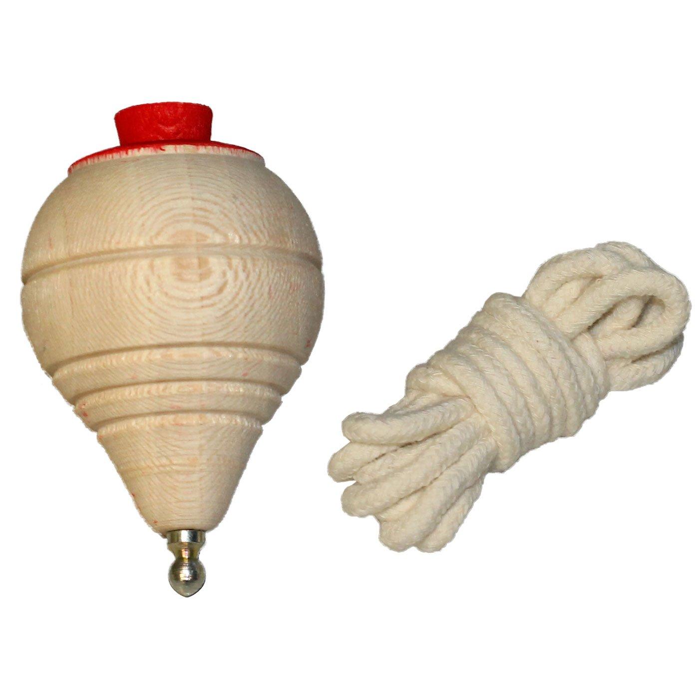 Peonza de madera cl/ásica con cuerda