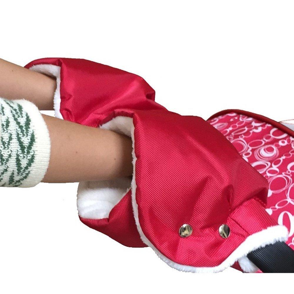 Plush Stroller Hand Muff Winter Waterproof Fleece Warmer Baby Pram Pushchair Stroller Gloves for Parents and Caregivers (Black) StylishYoung