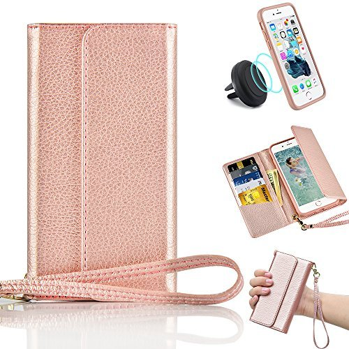 : iPhone 7 Plus Wallet Case, iPhone 7 Plus Case with Card Holder, ZVE Shockproof Wallet Leather Case with Credit Card Slots Detachable Cover Wrist Strap Handbag for Apple iPhone 7 Plus 5.5'' Rose Gold