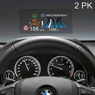 "RED SHIELD Universal Head Up Display HUD Reflective Windshield Film 7.5"" for All Car Makes and Models. Premium Quality High Definition HD Clarity. Compatible with All HUD Units and Smartphones. 2 PK: Automotive"