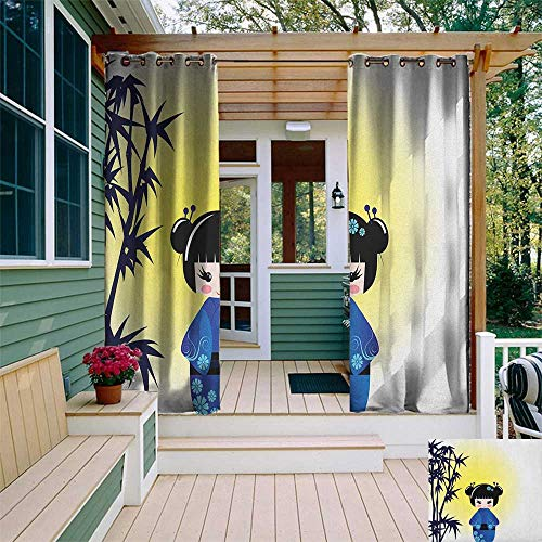 leinuoyi Anime, Outdoor Curtain Extra Long, Illustration of a Kokeshi Doll and Bamboo Tree Japanese Asian Traditional Kimono, Balcony Curtains W120 x L108 Inch Multicolor ()
