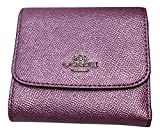 Coach Crossgrain Small Slim Wallet Metallic Lilac F21069