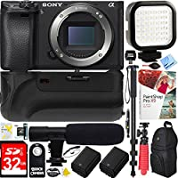 Sony Alpha a6000 24.3MP Interchangeable Lens Camera Body only (ILCE6000/B) - 64GB Battery Grip & Shotgun Mic Pro Video Bundle