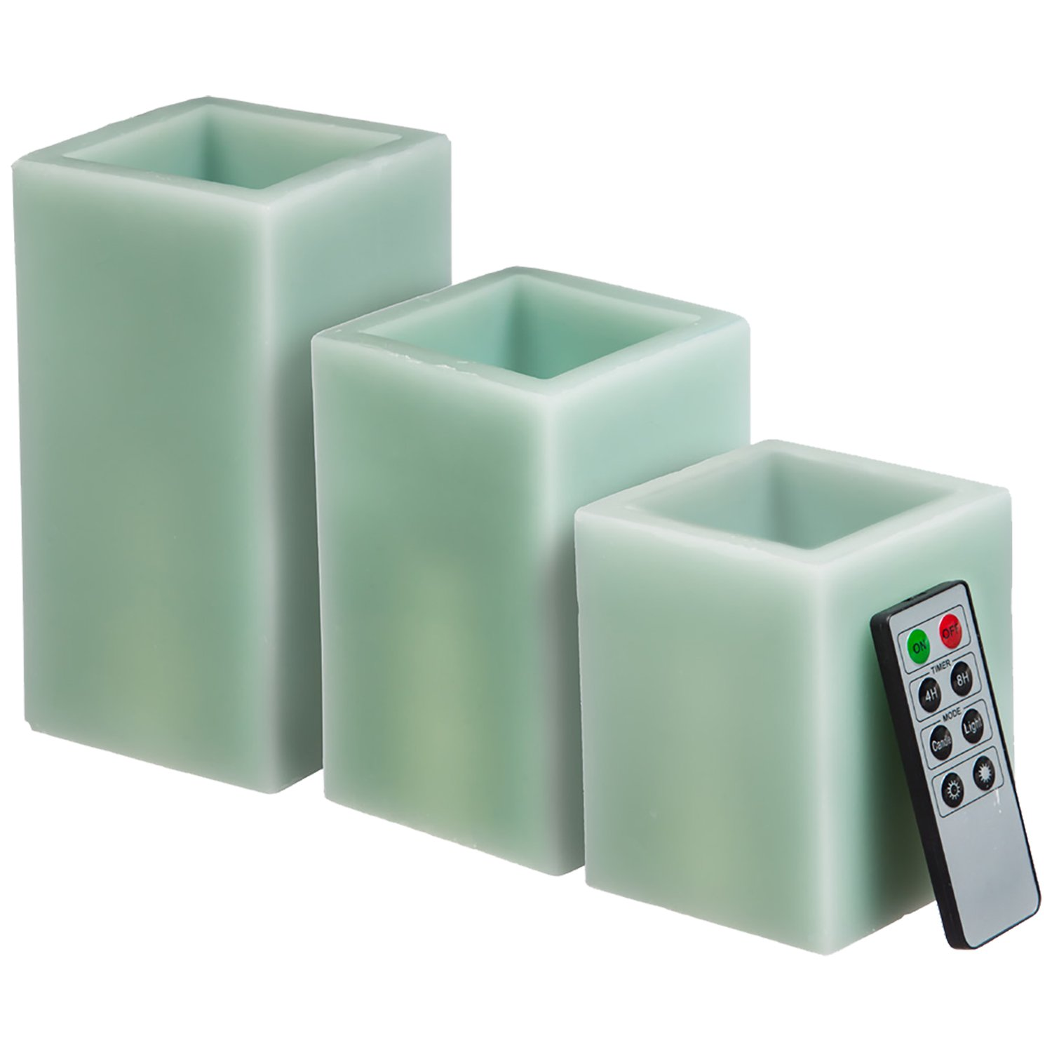 CEDAR HOME Battery Operated Flameless LED Wax Square Pillar Candle Remote, Set of 3, Antique Teal
