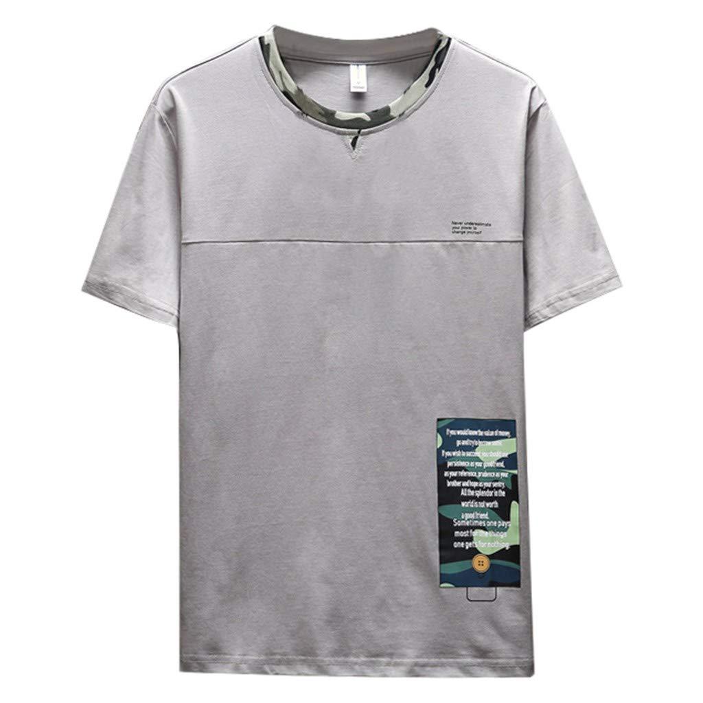 JIUDASG Mens Summer T-Shirt Solid Colour Tops Short Sleeve Comfortable Blouse Gray