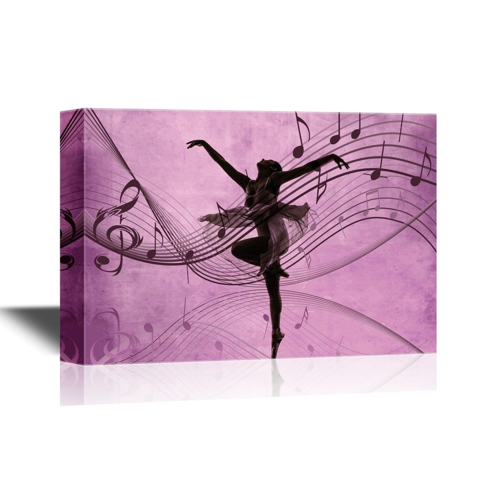 ballet dancer on purple background with music notes canvas art