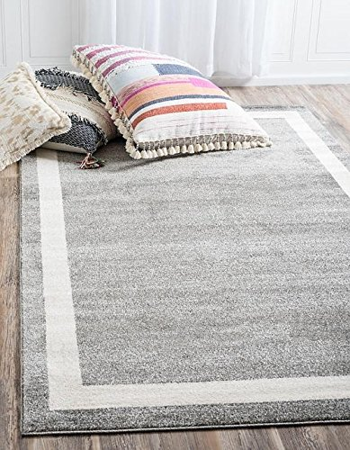 Unique Loom Del Mar Collection Gray 8 x 11 Area Rug (8' x 11') - Patio Border Rug