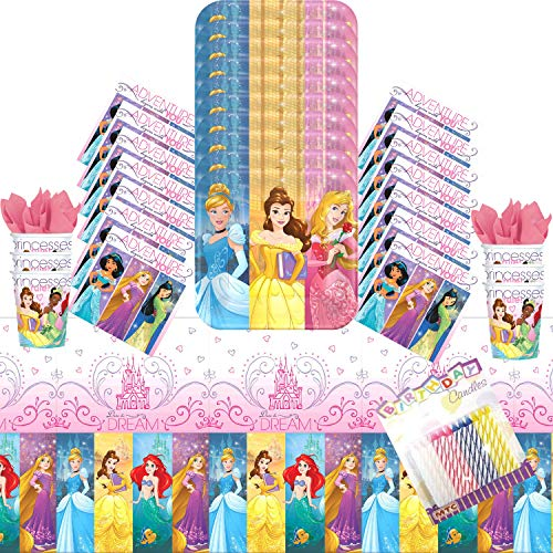 - Disney Princess Dream Big Party Plates Napkins Cups and Table Cover Serves 16 with Birthday Candles - Disney Princess Party Supplies Pack Deluxe (Bundle for 16)