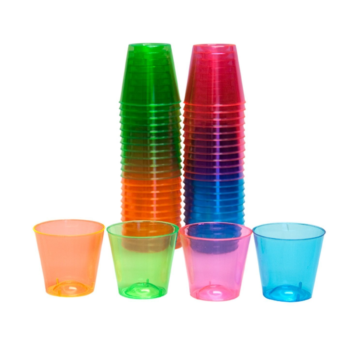 Party Essentials Hard Plastic 1-Ounce Shot Glasses, 50-Count, Assorted Neon NW Enterprises - Toys N15090
