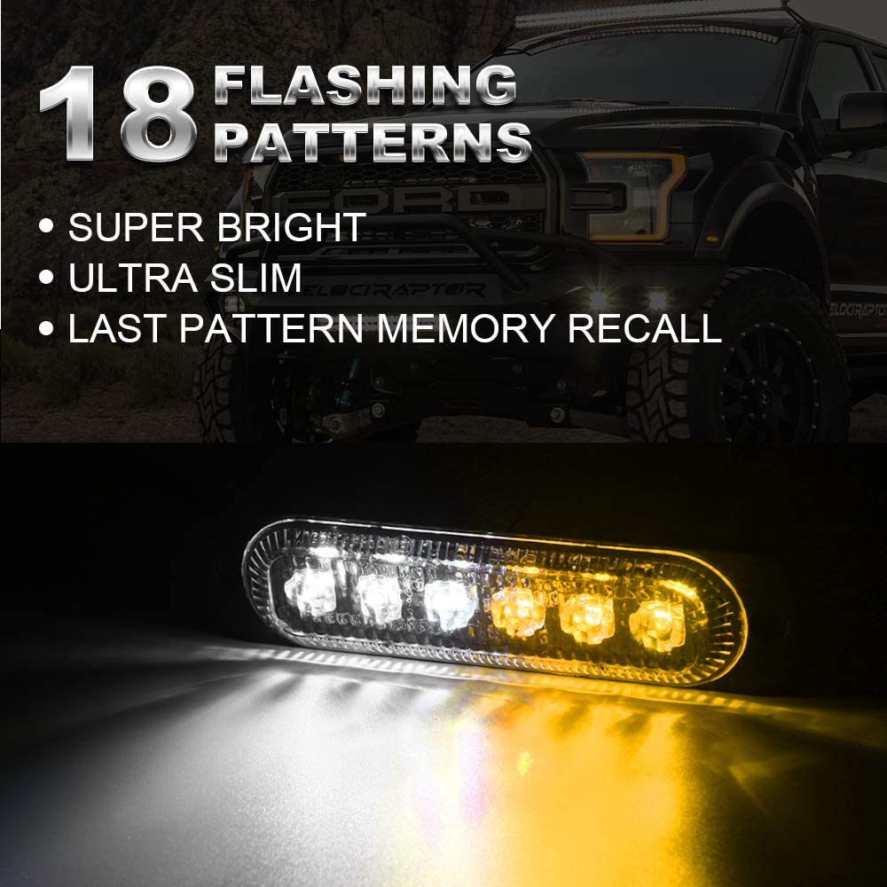 VKGAT 4pcs Sync Feature 6LED Car Truck Emergency Beacon Warning Hazard Flash Strobe Light Surface Mount White