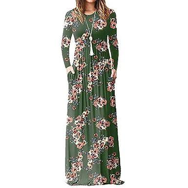 496d897eb639 Robe Femme Chic de Soiree Convient pour l automne Bohême Col V Manches  Longues Cheville