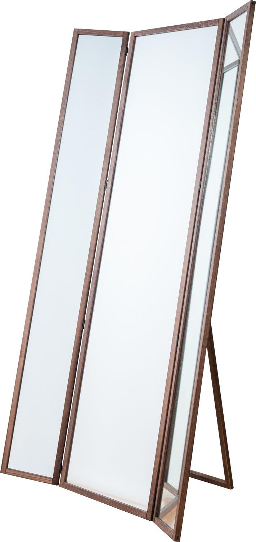 サンアイ 国産 スタンドミラー 三面鏡 (天然木仕様) 幅約40x高さ約148cm B01G6XFG80