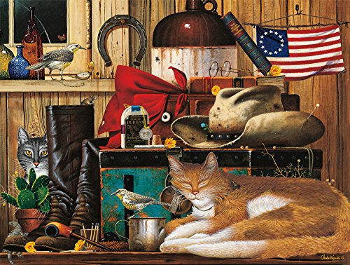 Buffalo Games - The Cats of Charles Wyoscki - Travelling Cowboy - 750 Piece Jigsaw Puzzle
