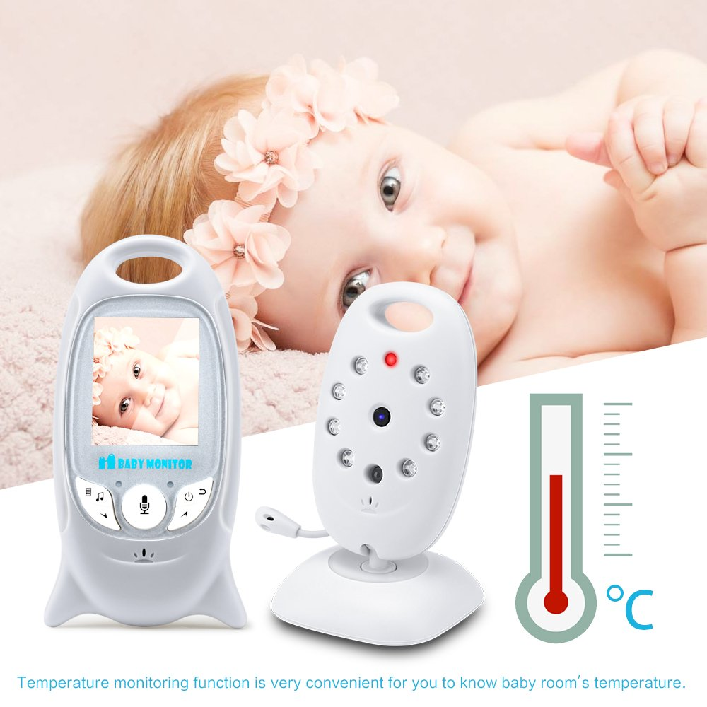 Wonyered Video Baby Monitor Wireless Audio Monitor with Camera 3.2 LCD Baby Alarm Built-in Lullabies Night Vision Temperature Monitoring 2 Way Talk