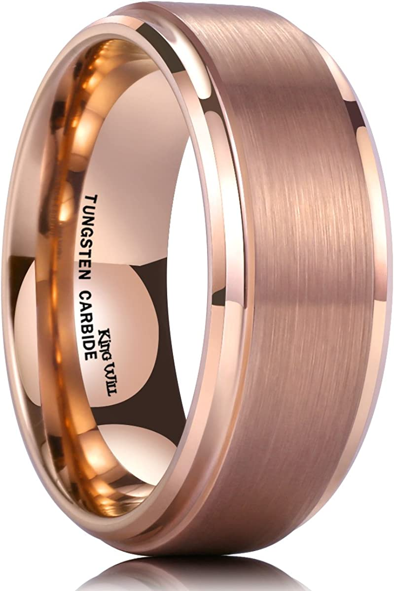 This is a photo of King Will Glory 32mm Rose Gold Plated Tungsten Carbide Ring Wedding Band Matte Finish Comfort Fit