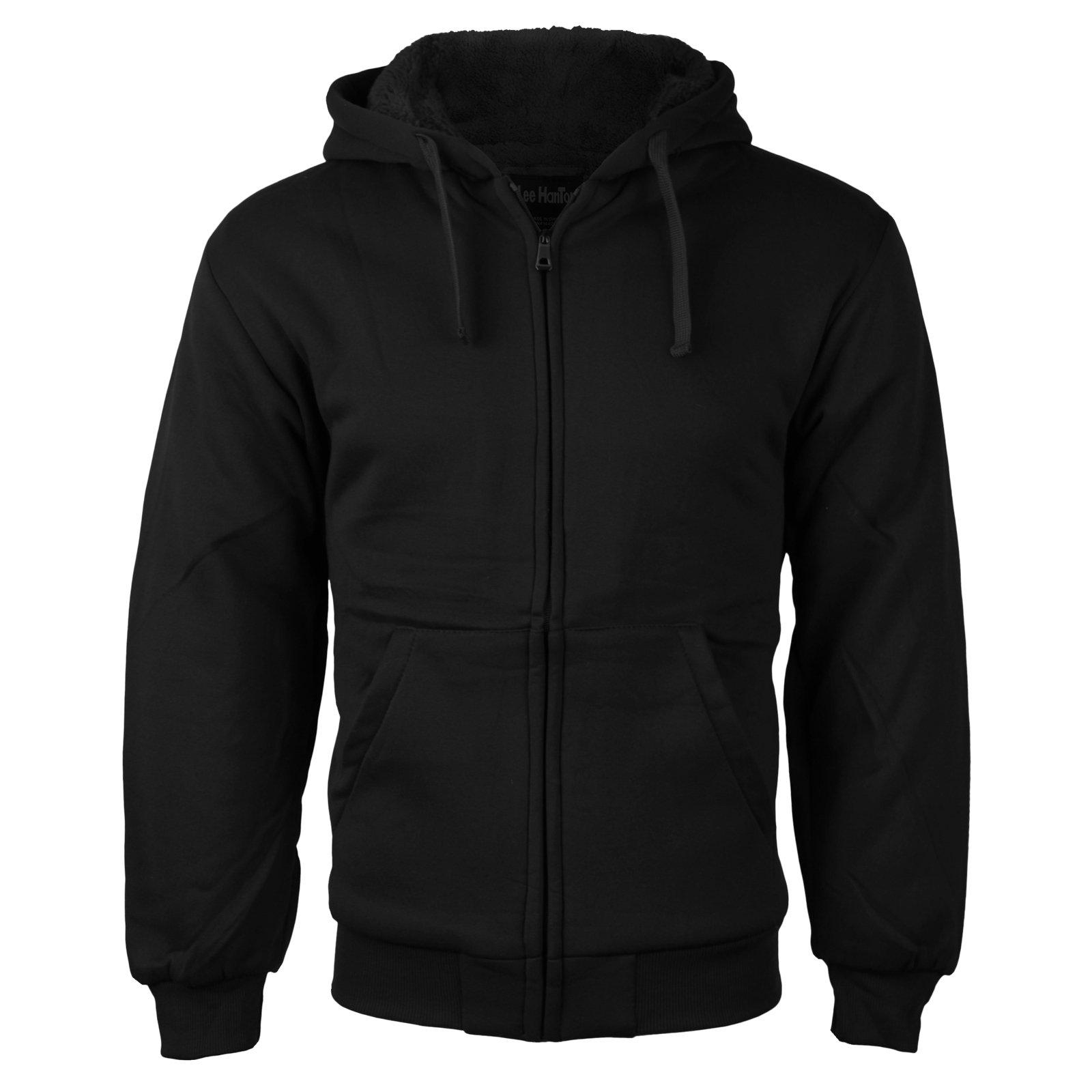 vkwear Men's Athletic Soft Sherpa Lined Fleece Zip Up Hoodie Sweater Jacket (Small, Black) by vkwear