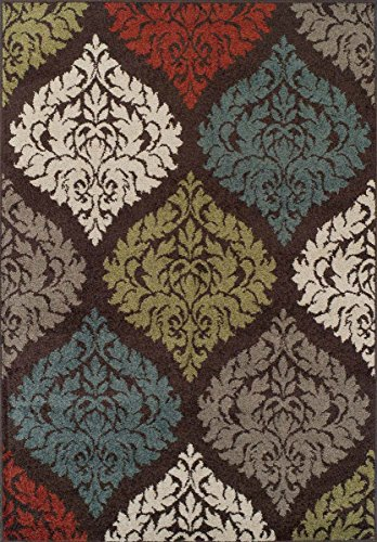 Super Area Rugs, Modern Transitional Damask Lanterns Rug, Chocolate Brown, 3ft. 3in. X 5ft. 1in. Mat (Chocolate Transitional Rug)