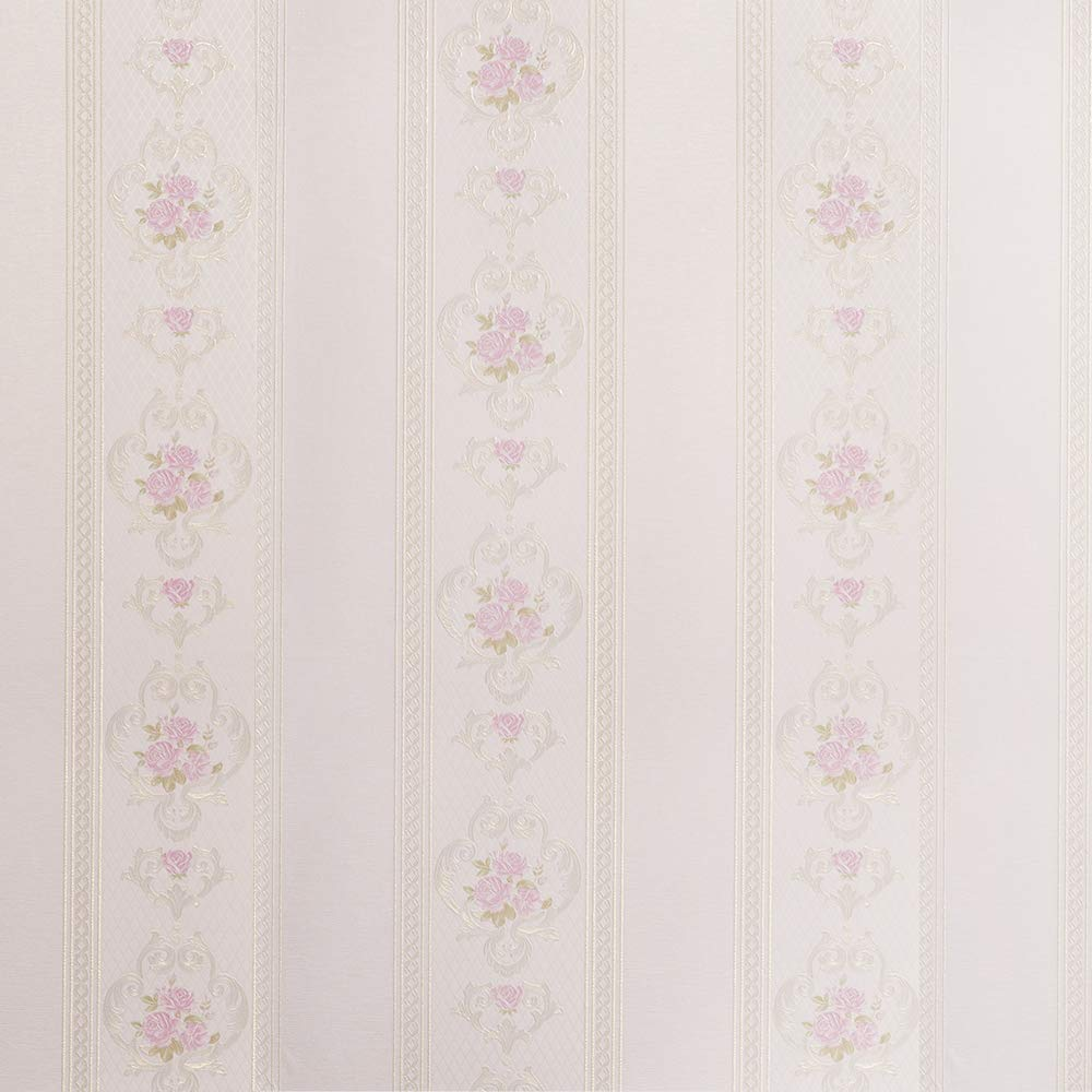 Wopeite Damask European Vintage Luxury Flower Blossom Wallpaper Embossed Textured Paper Non-Woven Floral Pattern Love Home Decor for Living Room Bedroom TV Backdrop