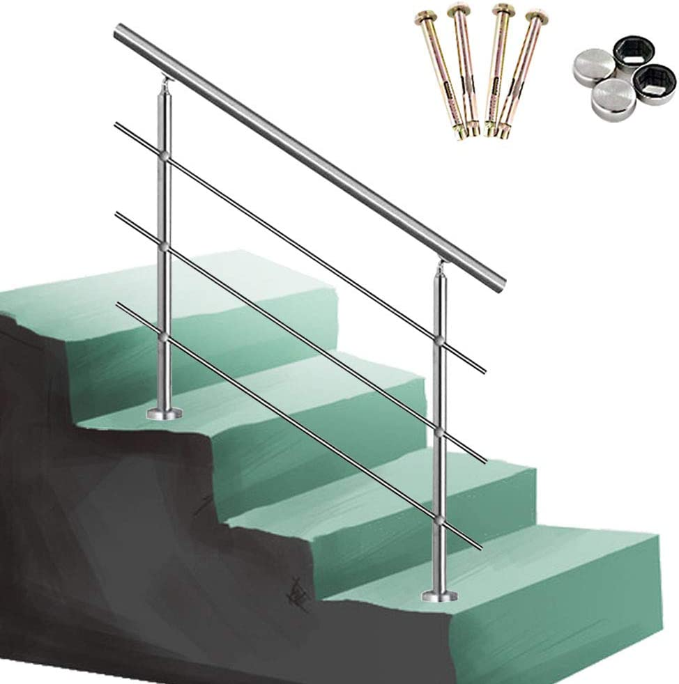 QDY-Handrails Hand Rails for Outdoor Steps - Complete Kit - Stainless Steel Outside Bars for Gardens Indoors Stair Railing for Elderly and Disabled (3 Crossbars & 140cm/55.1in)