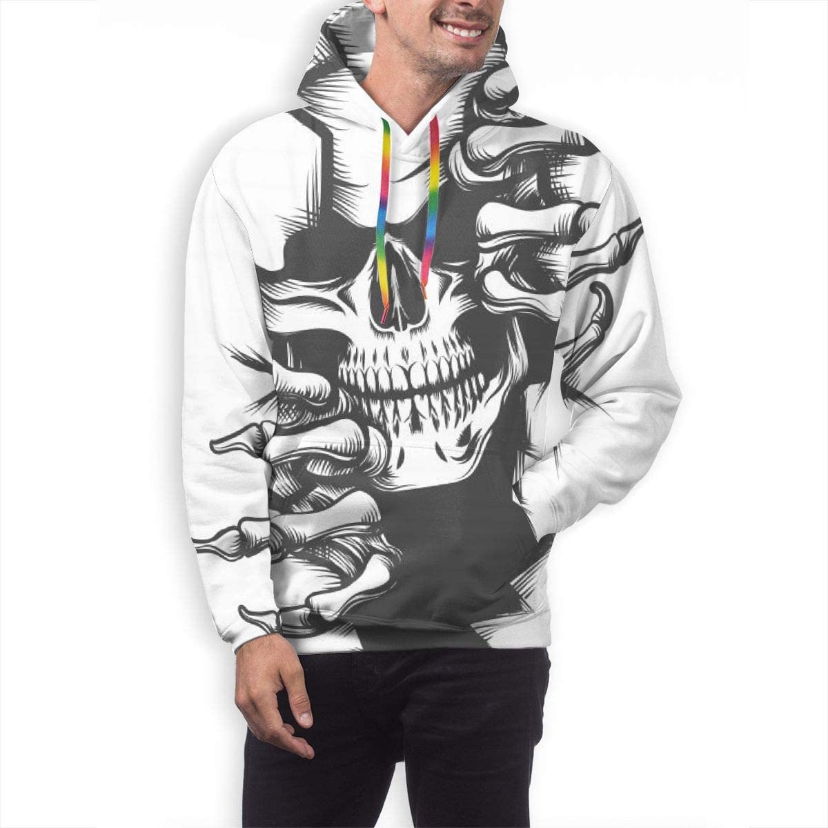 Mens Hoodie Human Skull Peeping Through Hole Sweate Sweatshirt Mens Casual Hoodie Casual Top Hooded