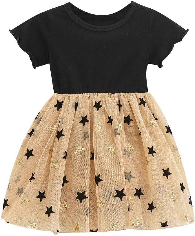 TOPKEAL Vestido de Manga Corta con Estampada de Estrella para Niñas pequeñas Falda Princesa de Malla Costura de Oído: Amazon.es: Ropa y accesorios