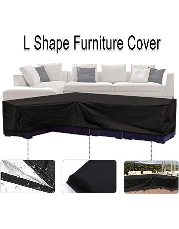 d015b378 ESSORT Fundas Sofá de Esquina Muebles en Forma de L Impermeable Fundas  Muebles de Jardin,