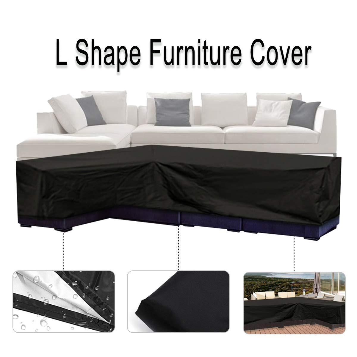 Essort l a forma di, patio mobili divano divano copertura con impermeabile e antipolvere per protezione solare e spostare 200cm (L) × 270CM (R) × 90CM (H) nero