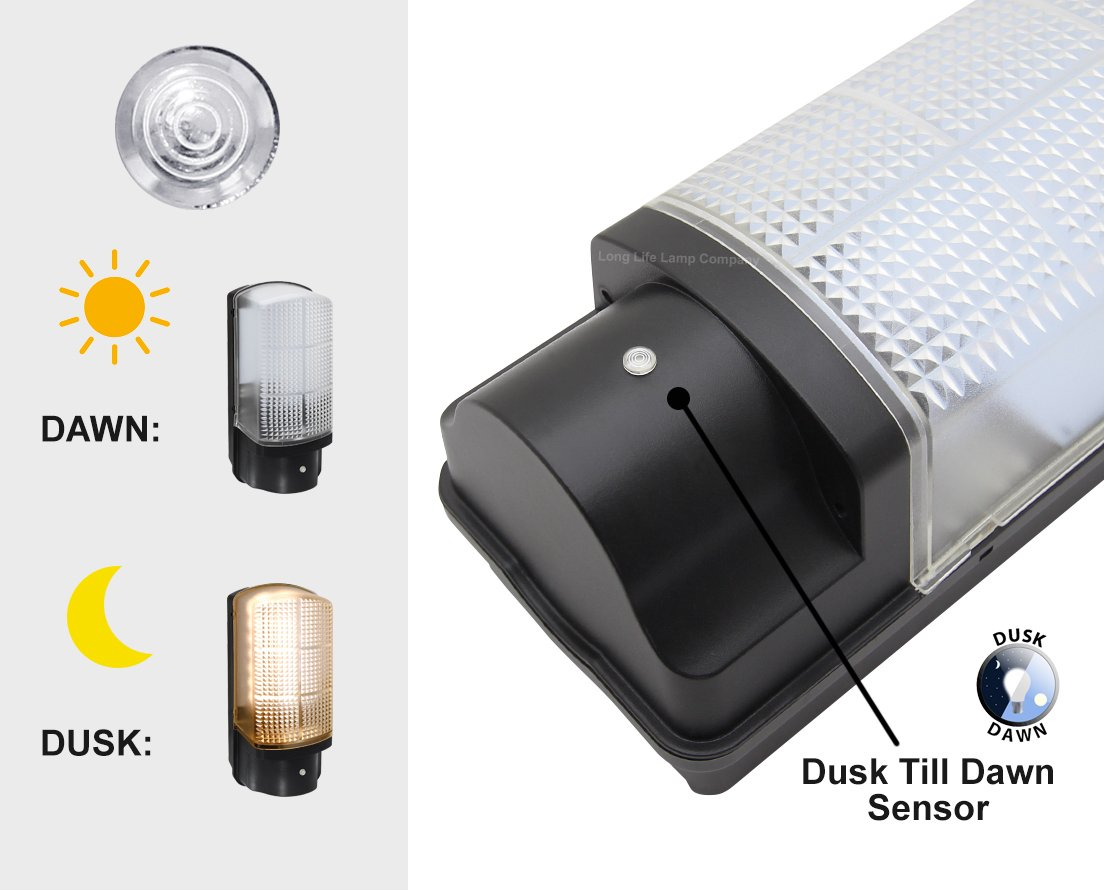 7w Led Bulkhead Dusk To Dawn Sensor Security Light Very Bright 100w Wiring A Photocell Output Warm White Garden Outdoors