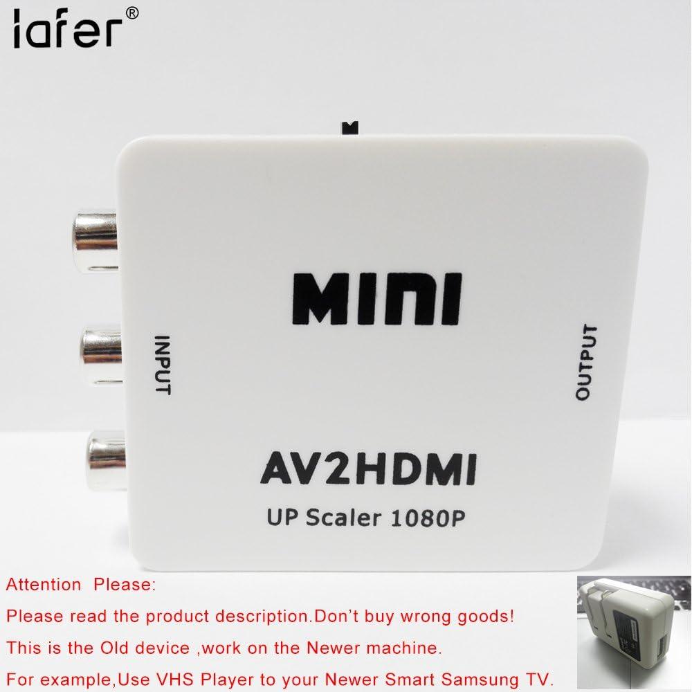 AV a HDMI, RCA a HDMI convertidor, vídeo compuesto y AUDIO estéreo a hdmi adaptador (apoyo conmutación entre 720P y 1080p): Amazon.es: Electrónica