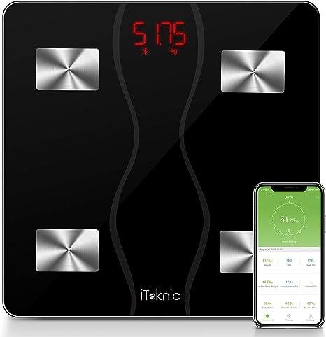 Bilancia Pesapersone Digitale Bilancia Pesapersone Impedenziometrica Intelligente Bluetooth Bilancia Pesa Persona Misura Peso Corporeo Massa Grassa Massa Muscolare 180kg BMI Massa Ossea Proteine