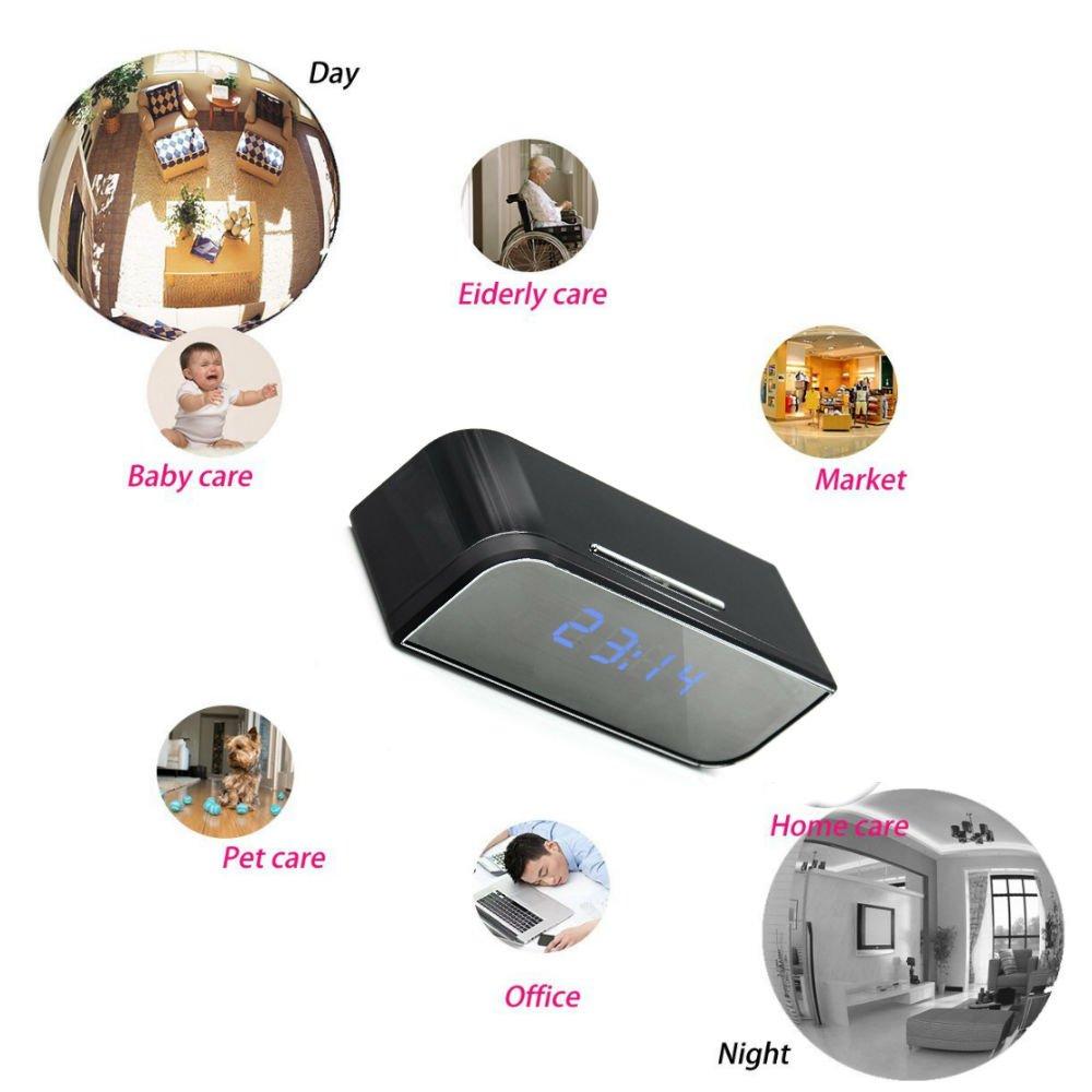 Cámara espía 1080P HD oculta con WIFI reloj de mesa TKSTAR WiFi Cámara espía despertador, cámara espía inalámbrico con vídeo en directo, detección de ...