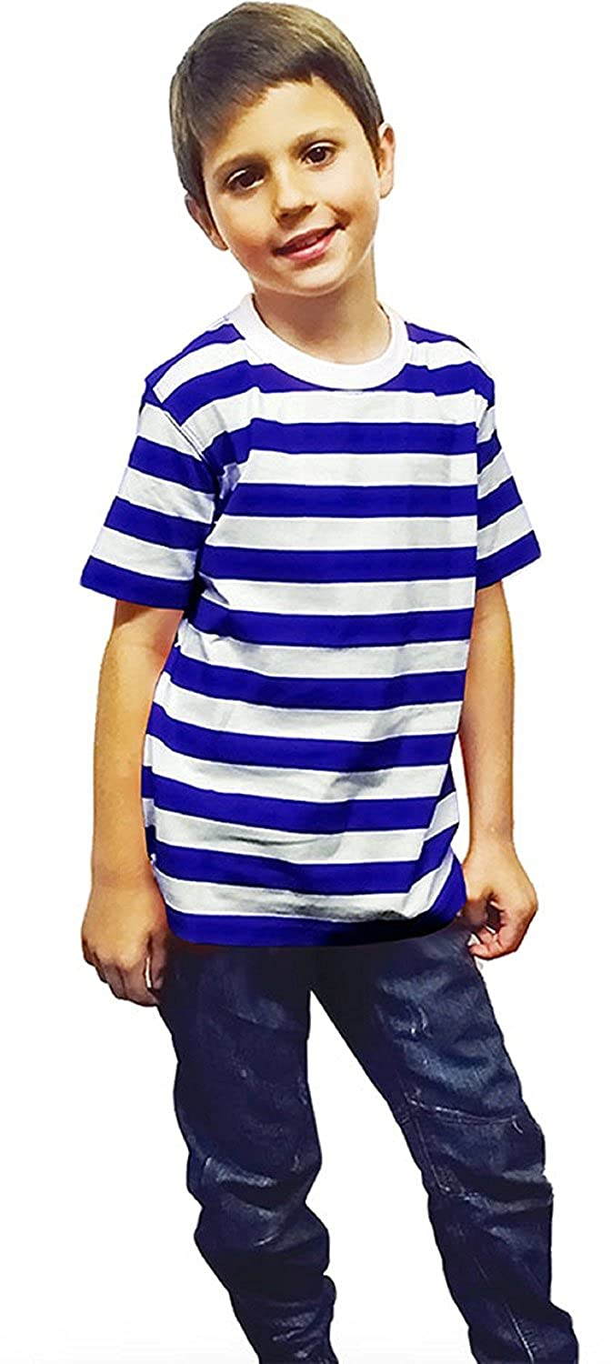 F4S/® Kids Unisex Striped T-Shirt School Book Week Casual Summer Top Ages 5-13 Years