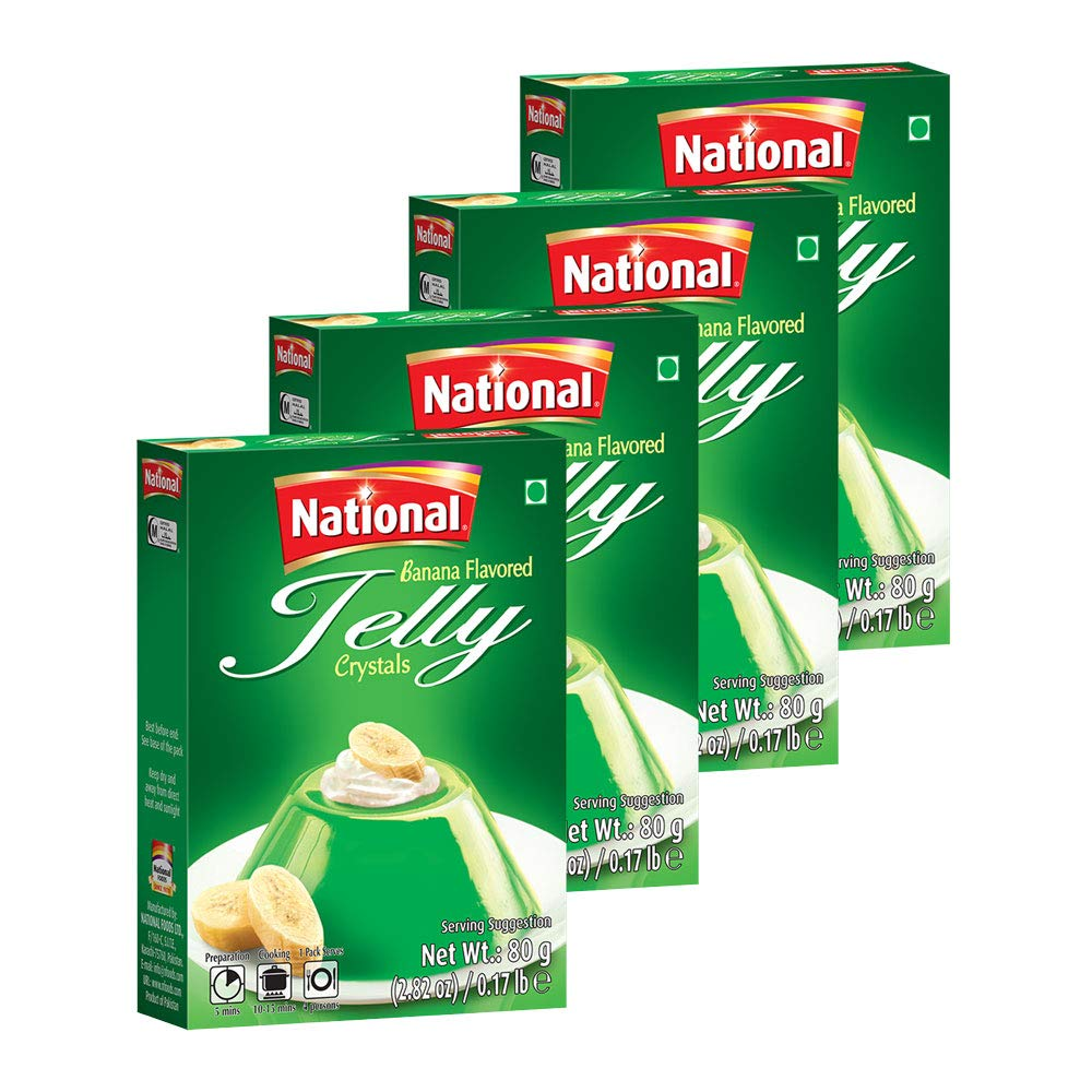 National Foods Jelly Crystal - Banana 2.82 oz (80g)   Quick & Easy Jello   Preservative Free   Sweet & Tasty Treat   Box Pack   Pack of 4