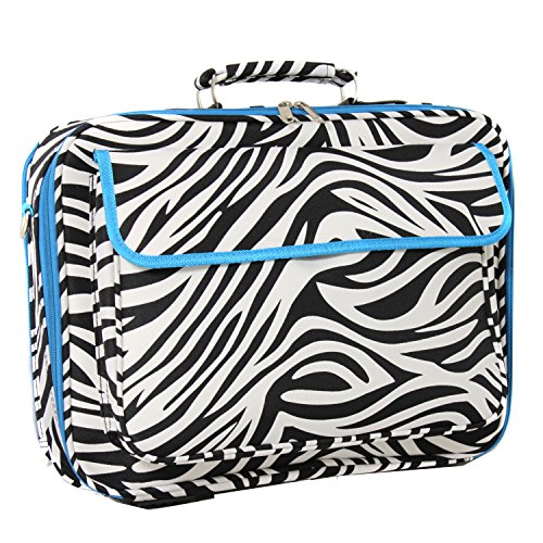 World Traveler 17 Inch Laptop Computer Case, Blue Trim Zebra, One Size