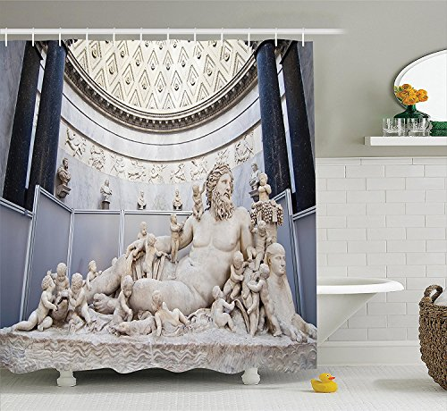[Sculptures Decor Collection A Roman Sculpture Lying in the Vatican Museums Christianity Famous Antique Style Art Polyester Fabric Bathroom Shower Curtain Set with Hooks Ivory] (Museum Of Country Life And Costume)