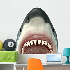 Wallmonkeys Great White Shark Jaws Wall Decal Peel and Stick Graphic (36 in H x 36 in W) WM172908