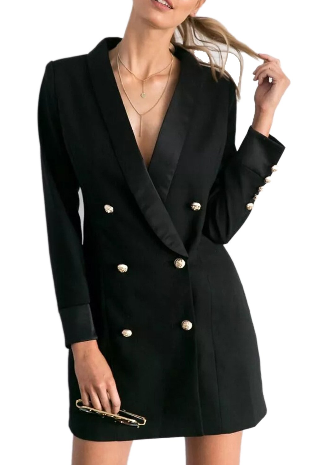 Women Elegant Long Sleeve Double Breasted Midi Suit Blazer Jacket Coat CALFC2550