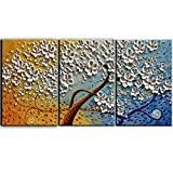 YaSheng Art - 28x20inchx3 Oil Paintings Hand Painted 3 Panels Oil Painting on Canvas Palette Knife 3D Flower Trees Paintings Modern Home Decor Wall Art Painting for Living Room Framed Ready to Hang