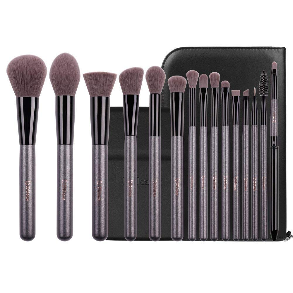 DUcare15 Pcs Pro Makeup Brush Set with Case and Travel Mirror Gift Choice Synthetic Professional Foundation Blending Brush Face Powder Blush Concealer Make Up Brushes by DUcare (Image #2)