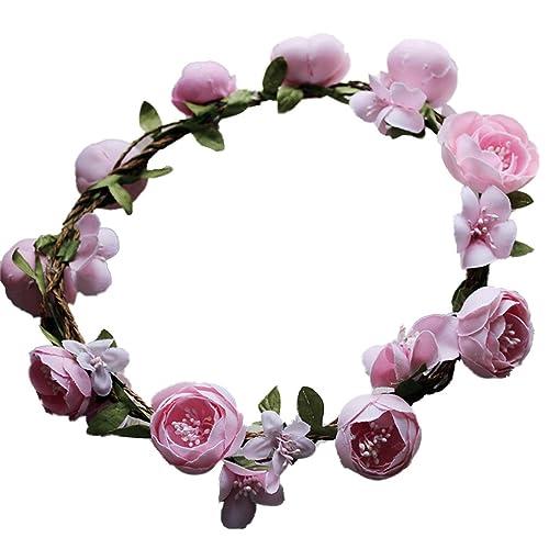 YAZILIND Boda de Flores de la Corona de Novia de ratán Rosa Guirnalda Floral Mori con Estilo Foto apoyos Diadema (Rosa): Amazon.es: Joyería