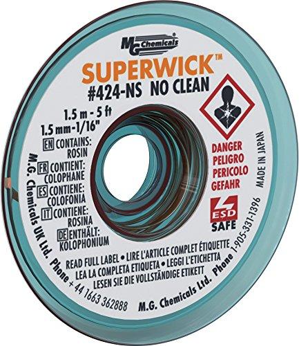MG Chemicals #2 No Clean Super Wick Desoldering Braid, 0.05