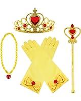 Vicloon nuovi costumi da principessa set di 4 pezzi dono da tiara, guanti, bacchetta magica, collana da 3 a 9 anni (giallo)
